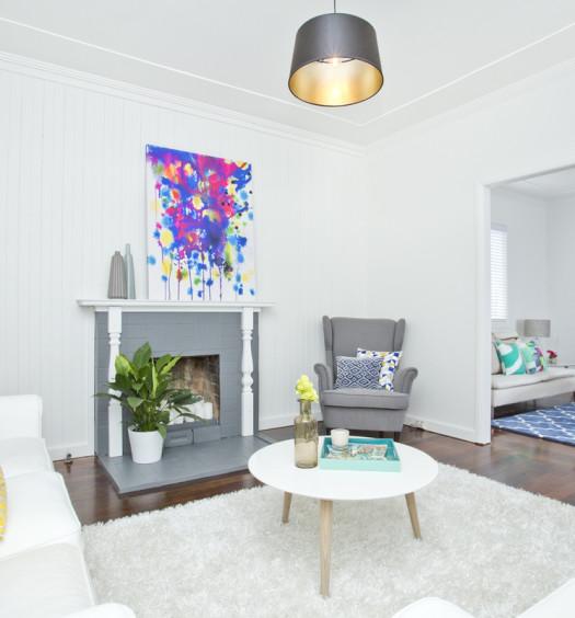 Salon blanc décoré