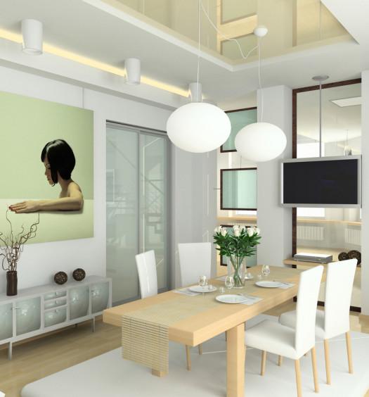 Salle à manger blanche et bois