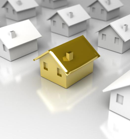 Miniatures de maison blanc et or