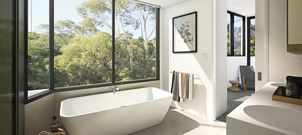 salle de bain avec grande vitre