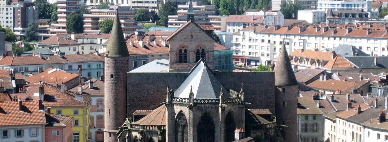 Vue sur la ville d'Epinal et la basilique Saint-Maurice